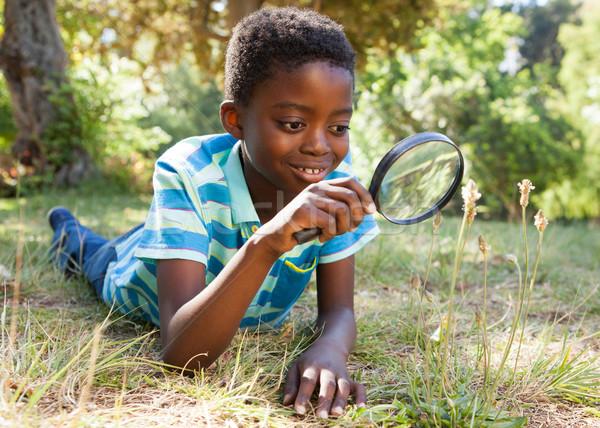 Сток-фото: Cute · мало · мальчика · глядя · увеличительное · стекло