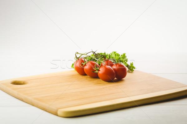 Pomidorki pietruszka deska do krojenia kopia przestrzeń kuchnia gotowania Zdjęcia stock © wavebreak_media
