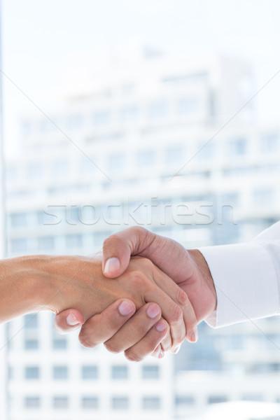 View due uomini d'affari stringe la mano ufficio Foto d'archivio © wavebreak_media