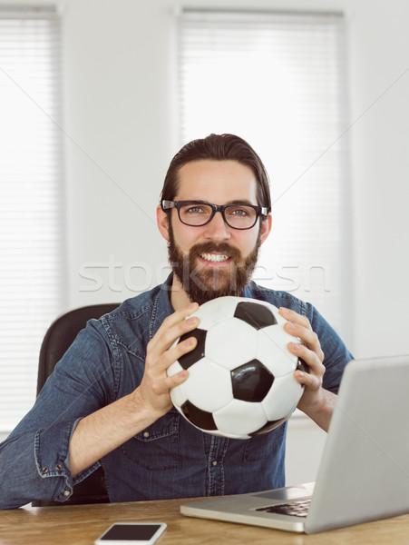 Empresario fútbol oficina ordenador Foto stock © wavebreak_media