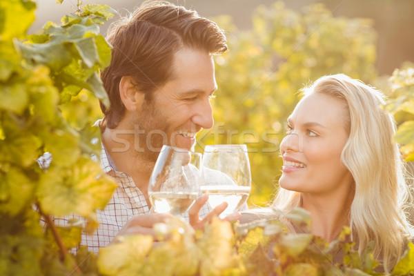 Genç mutlu çift gözlük şarap Stok fotoğraf © wavebreak_media