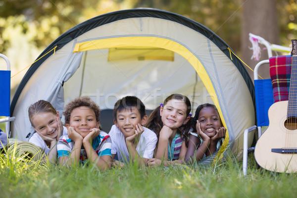 Glimlachend vrienden tent camping portret Stockfoto © wavebreak_media