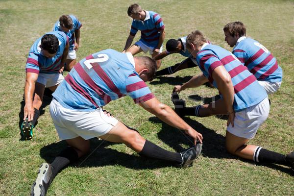 Görmek rugby oyuncular egzersiz çimenli Stok fotoğraf © wavebreak_media