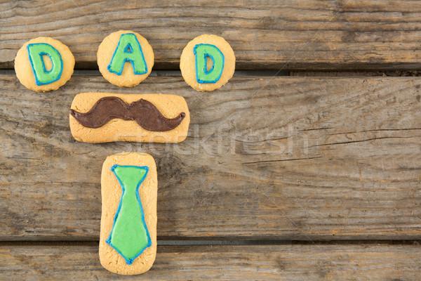 Overhead view of cookies with dad text Stock photo © wavebreak_media