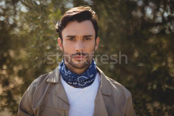 肖像 若い男 立って オリーブ ファーム ストックフォト © wavebreak_media