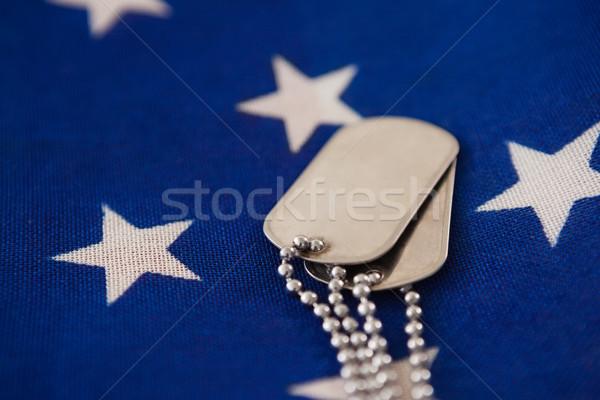 Közelkép kutya címke amerikai zászló full frame kék Stock fotó © wavebreak_media
