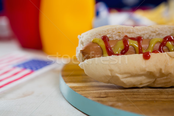 American flag and hot dog on wooden table Stock photo © wavebreak_media