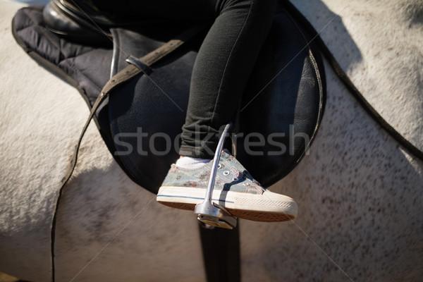 Criança sessão cavalo de volta menina Foto stock © wavebreak_media