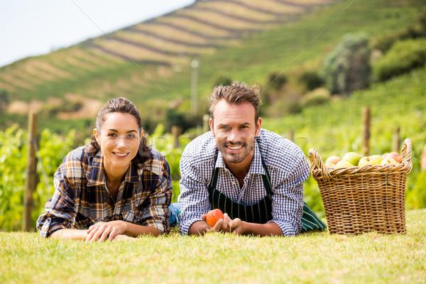 Portret paar wijngaard glimlachend Stockfoto © wavebreak_media