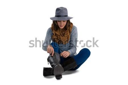 сапогах сидят белый Сток-фото © wavebreak_media