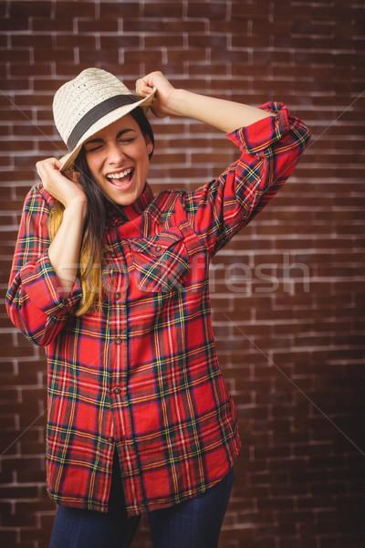 美しい ヒップスター 赤 レンガ 女性 ストックフォト © wavebreak_media