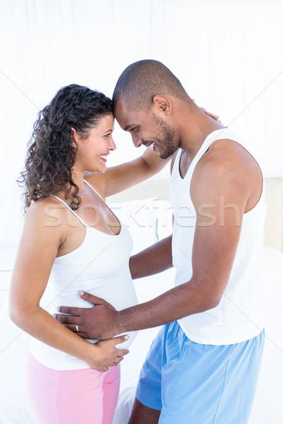 Foto stock: Feliz · embarazadas · esposa · marido · tocar · vientre