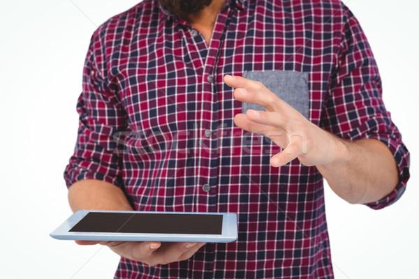 Középső rész férfi gesztikulál tart digitális tabletta Stock fotó © wavebreak_media