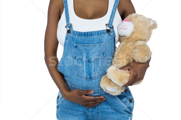 Mujer embarazada osito de peluche blanco amor embarazadas Foto stock © wavebreak_media