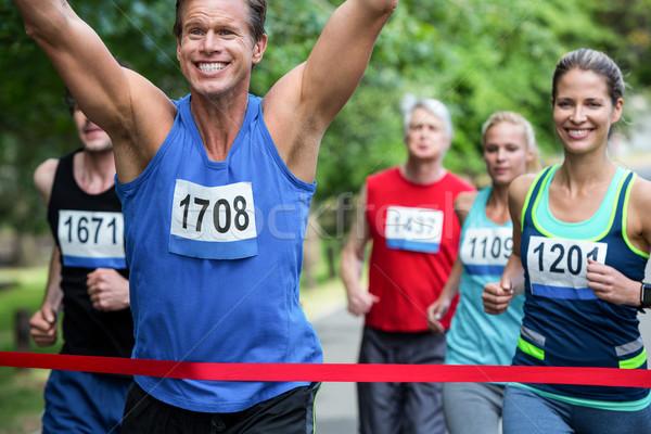 マラソン 男性 選手 公園 女性 ストックフォト © wavebreak_media