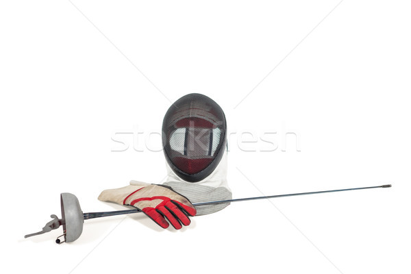 Fencing mask, sword and gloves on white background Stock photo © wavebreak_media
