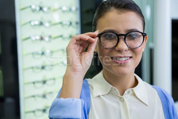 улыбаясь женщины клиентов очки оптический магазине Сток-фото © wavebreak_media
