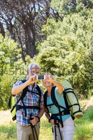 Paar mountainbike platteland track portret Stockfoto © wavebreak_media