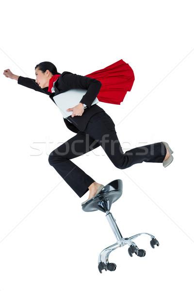 Kadın süper kahraman beyaz eğlence top iletişim Stok fotoğraf © wavebreak_media