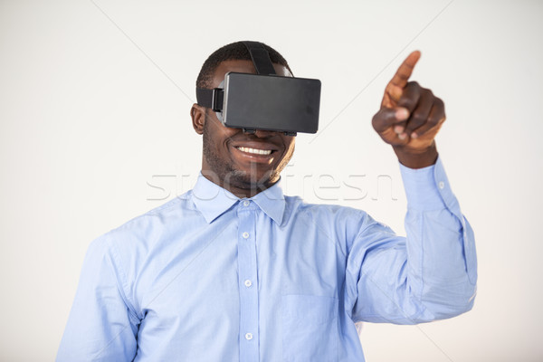 Man using virtual reality headset Stock photo © wavebreak_media