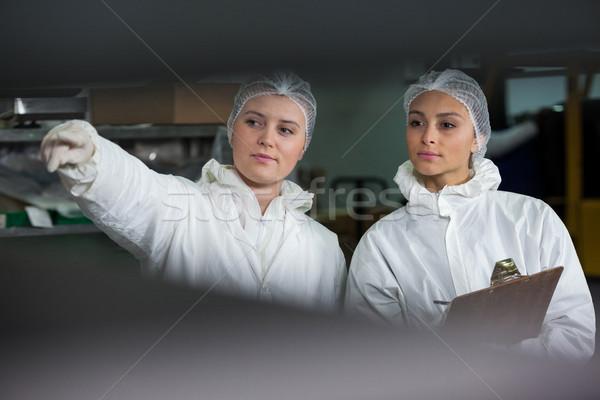 Női lemezek vágólap hús gyár nő Stock fotó © wavebreak_media