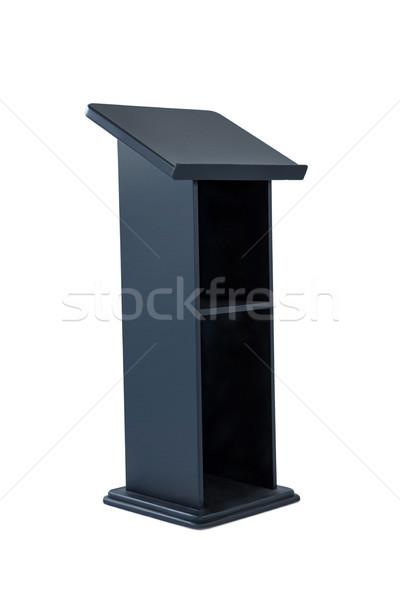 Pódio isolado branco preto madeira alto-falante Foto stock © wavebreak_media