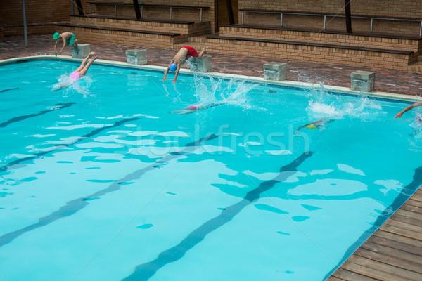 ダイビング プール 水 男 幸せ 子 ストックフォト © wavebreak_media