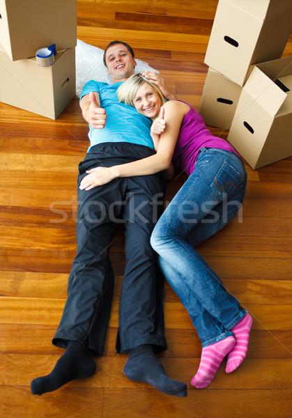 Couple sleeping on the floor Stock photo © wavebreak_media