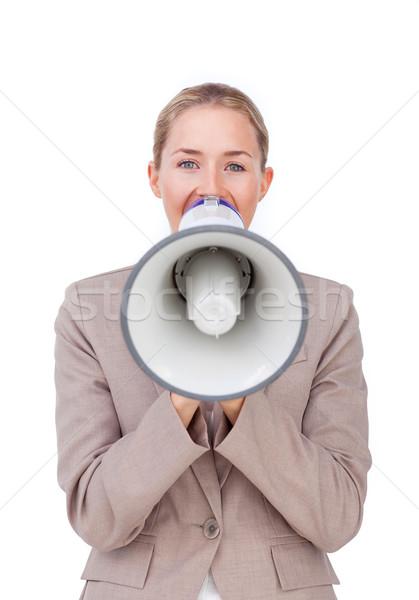 小さな 女性実業家 説明書 メガホン 孤立した 白 ストックフォト © wavebreak_media