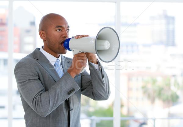 Zdjęcia stock: Ambitny · biznesmen · megafon · biuro · człowiek