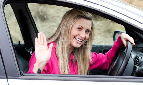 Joyful young female driver at the wheel Stock photo © wavebreak_media
