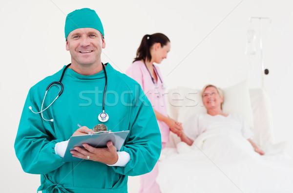 Stock fotó: Orvosok · megvizsgál · beteg · együtt · kórház · nő