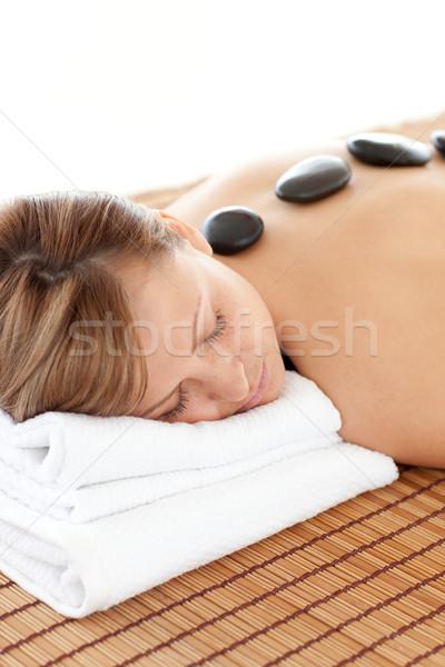 Elragadtatott nő kő terápia fehér test Stock fotó © wavebreak_media