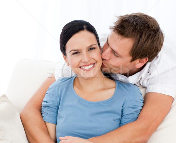 Сток-фото: человека · целоваться · подруга · расслабляющая · диван · домой