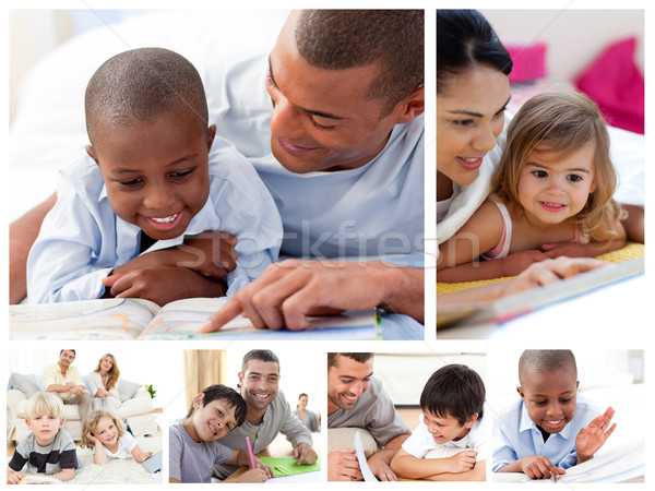 Collage of parents educating children at home Stock photo © wavebreak_media