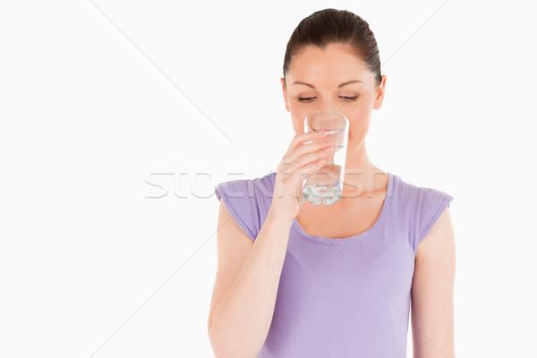Piękna kobieta wody stałego biały kobieta Zdjęcia stock © wavebreak_media