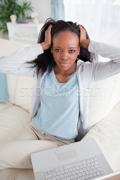 Stockfoto: Jonge · vrouw · wanhopig · laptop · home · communicatie · stress