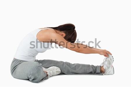 Oldalnézet nő fehér test háttér tornaterem Stock fotó © wavebreak_media