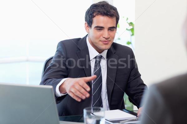 üzletember kéz iroda üzlet munka laptop Stock fotó © wavebreak_media
