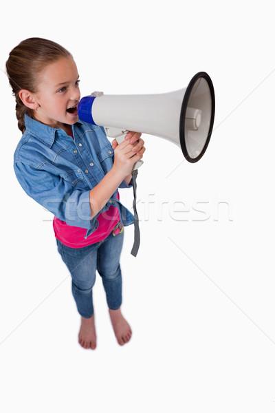Ritratto cute ragazza megafono bianco Foto d'archivio © wavebreak_media