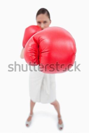 Zakenvrouw iets bokshandschoenen witte business hand Stockfoto © wavebreak_media