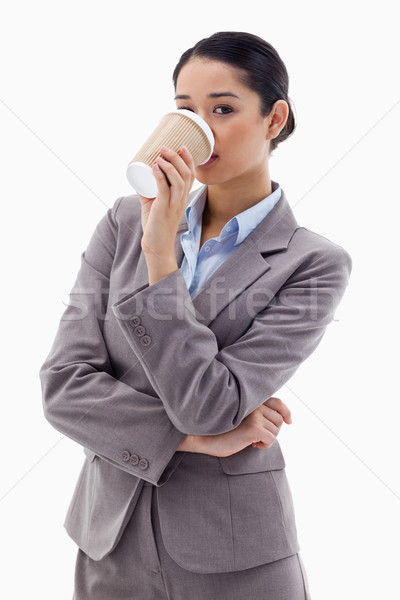 Portrait cute femme d'affaires potable café blanche Photo stock © wavebreak_media