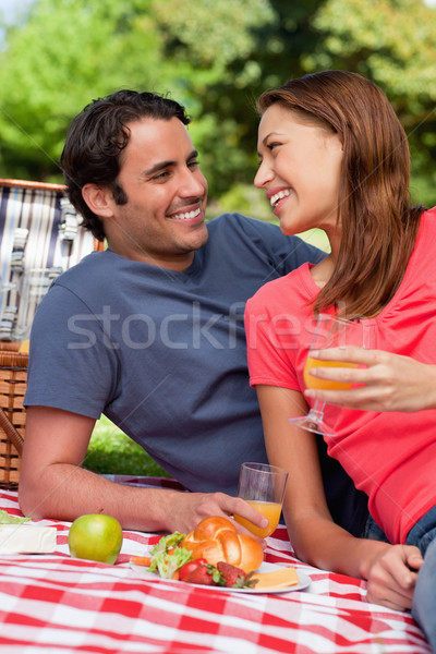Two smiling friends looking into each others eyes while they hold glasses as they lie on a blanket w Stock photo © wavebreak_media