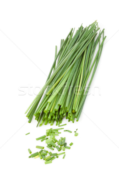 Freshly cut stands of chive against a white background Stock photo © wavebreak_media