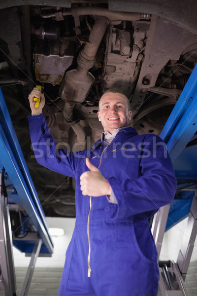 Man repairing a car with an adjustable pliers in a garage Stock photo © wavebreak_media