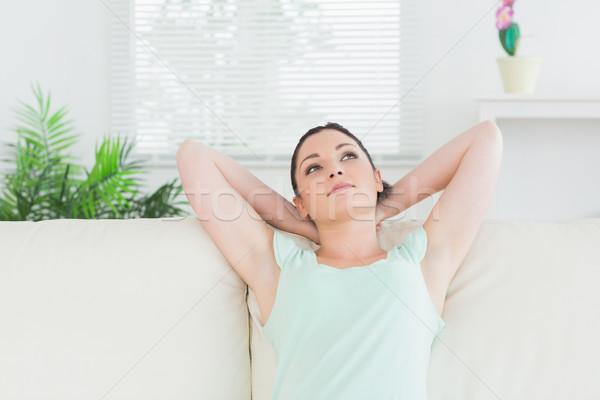 Stok fotoğraf: Kadın · oturma · kanepe · oturma · odası · rahatlatıcı · mutlu