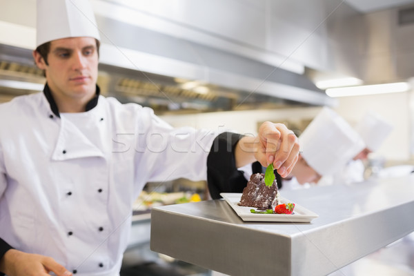 Chef garnishing his cake with a mint leaf in the kitchen  Stock photo © wavebreak_media