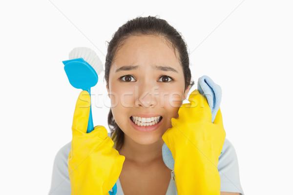 Vrouw doek borstel schort rubberen handschoenen Stockfoto © wavebreak_media