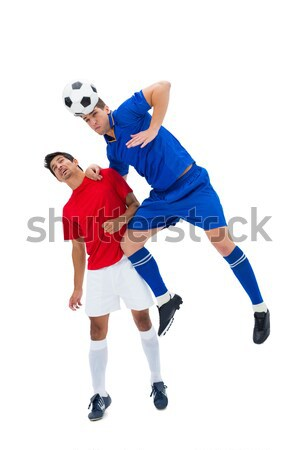 Stock fotó: Fiatal · srác · láb · futballabda · fehér · gyermek · cipők