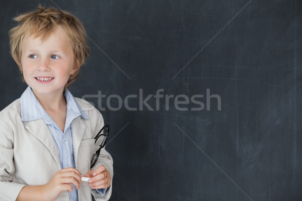 Fiú tanár áll iskolatábla boldog fiatal srác Stock fotó © wavebreak_media